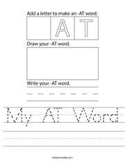My AT Word Handwriting Sheet