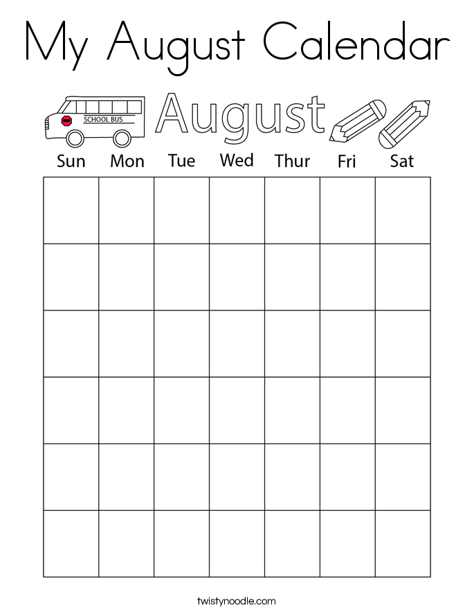 My August Calendar Coloring Page