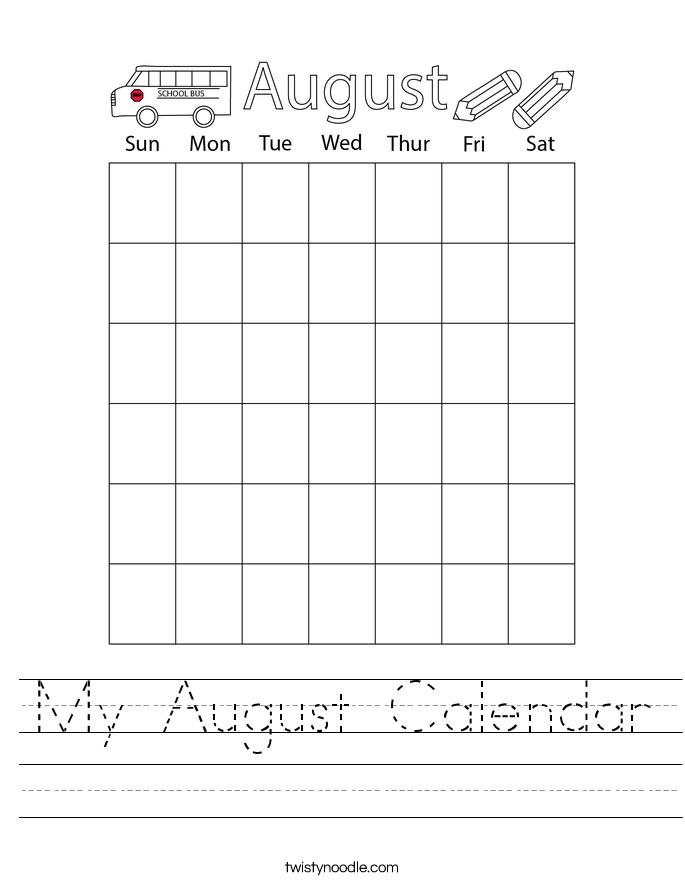 My August Calendar Worksheet