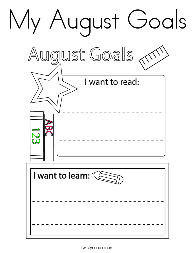 My August Goals Coloring Page
