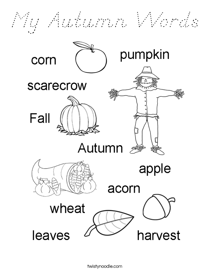 My Autumn Words Coloring Page