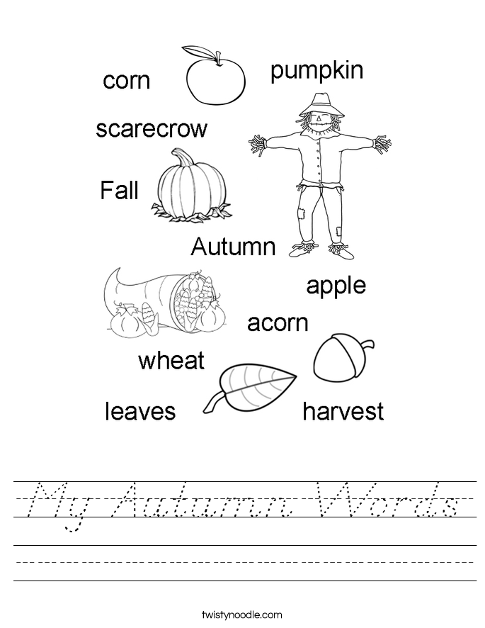 My Autumn Words Worksheet
