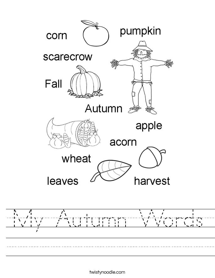 My Autumn Words Worksheet