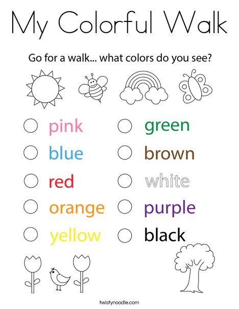 My Colorful Walk Coloring Page