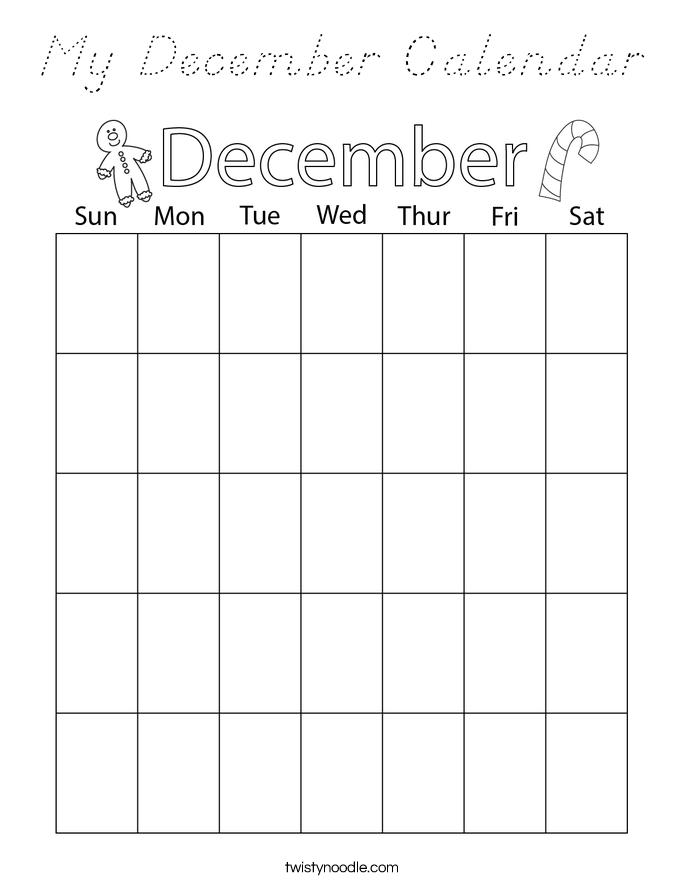 My December Calendar Coloring Page