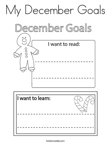 My December Goals Coloring Page