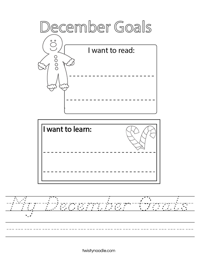 My December Goals Worksheet