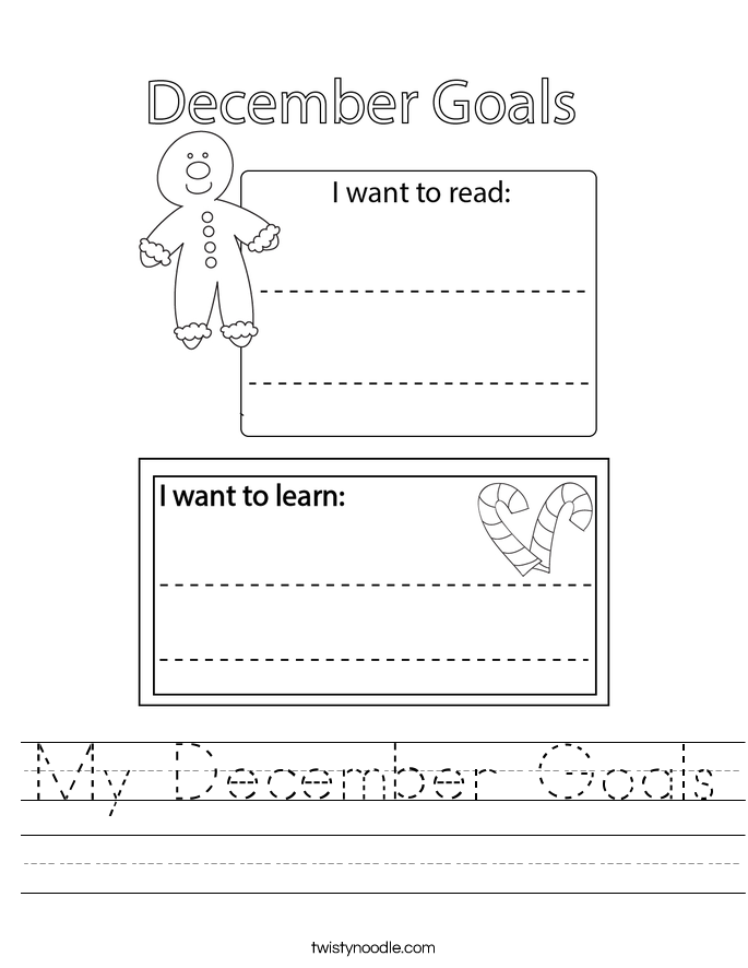 My December Goals Worksheet - Twisty Noodle