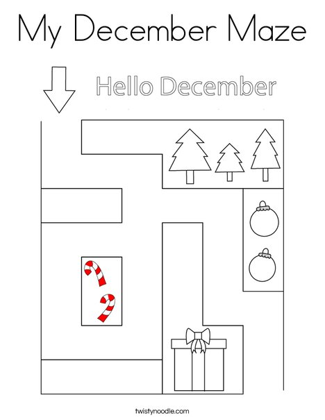 My December Maze Coloring Page