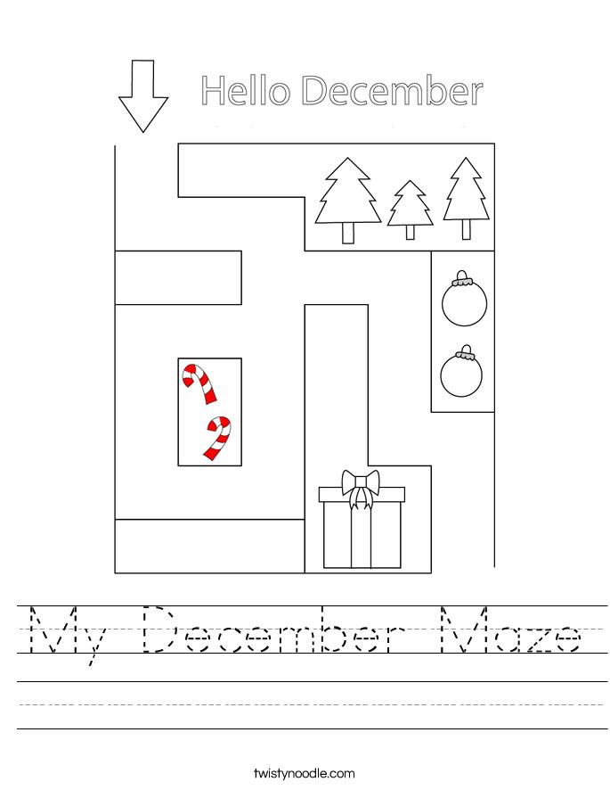 My December Maze Worksheet