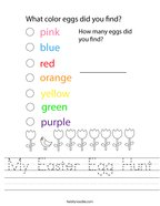 My Easter Egg Hunt Handwriting Sheet