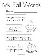 My Fall Words Coloring Page