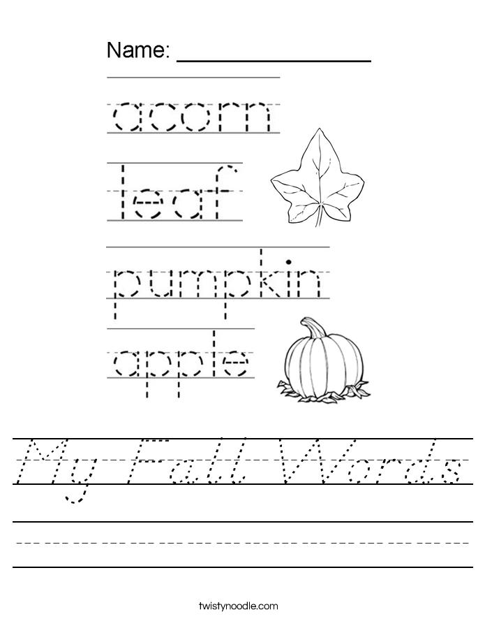 My Fall Words Worksheet