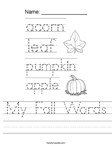 My Fall Words Worksheet