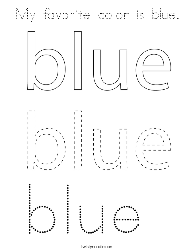 My favorite color is blue! Coloring Page