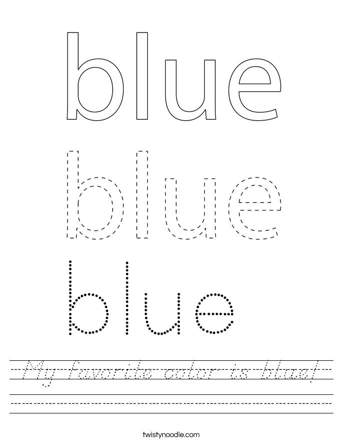 My favorite color is blue! Worksheet