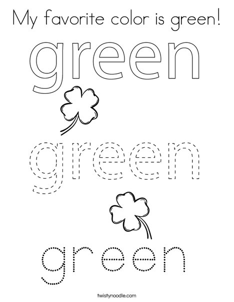 My favorite color is green! Coloring Page
