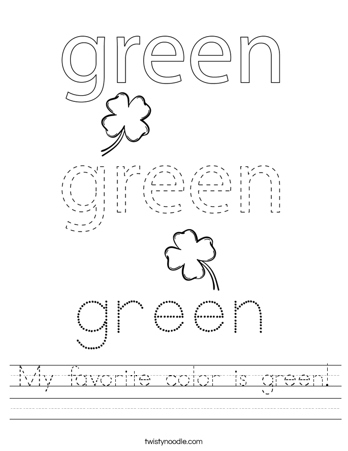 My favorite color is green! Worksheet