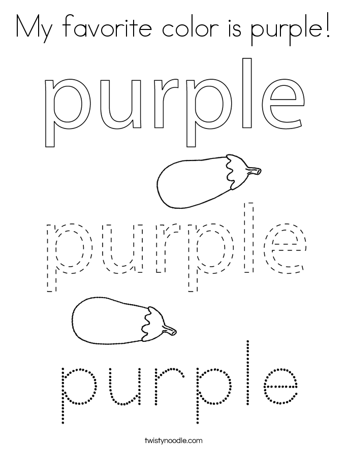 My favorite color is purple! Coloring Page