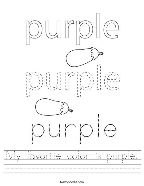 My favorite color is purple! Worksheet