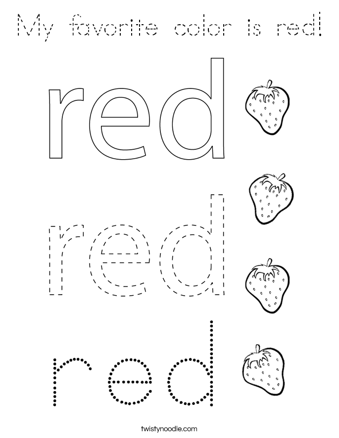 My favorite color is red! Coloring Page
