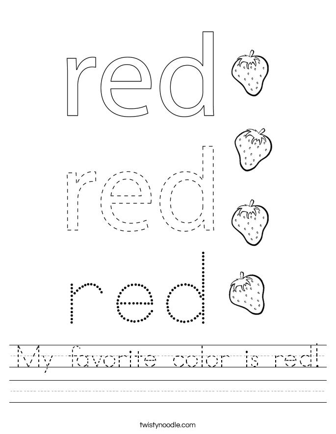 My favorite color is red! Worksheet