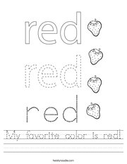 My favorite color is red Handwriting Sheet