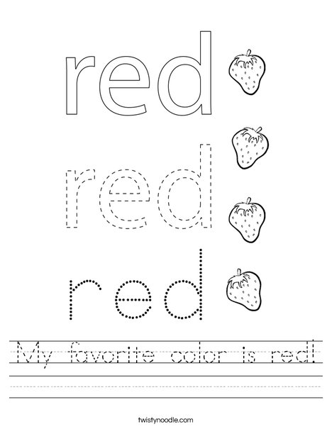My favorite color is red! Worksheet