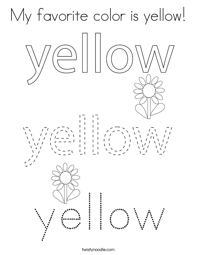My favorite color is yellow! Coloring Page