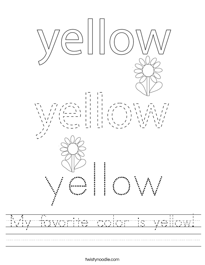 My favorite color is yellow! Worksheet