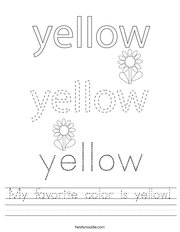 My favorite color is yellow Handwriting Sheet