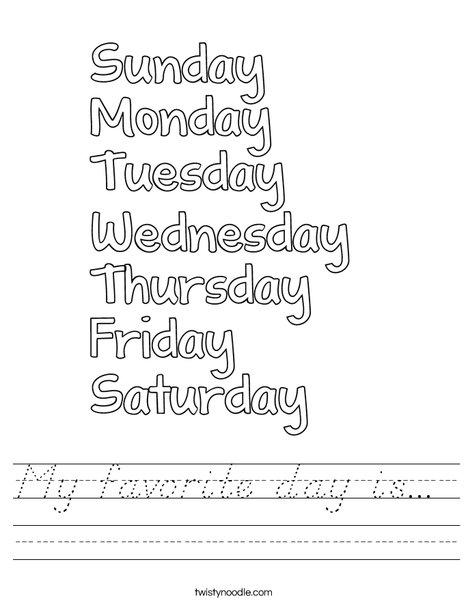 My Favorite Day is Worksheet