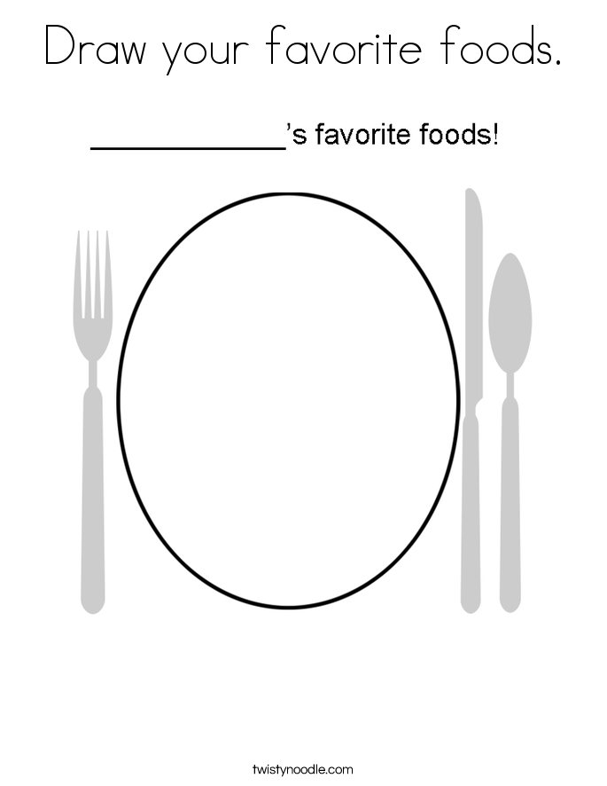 Draw your favorite foods. Coloring Page