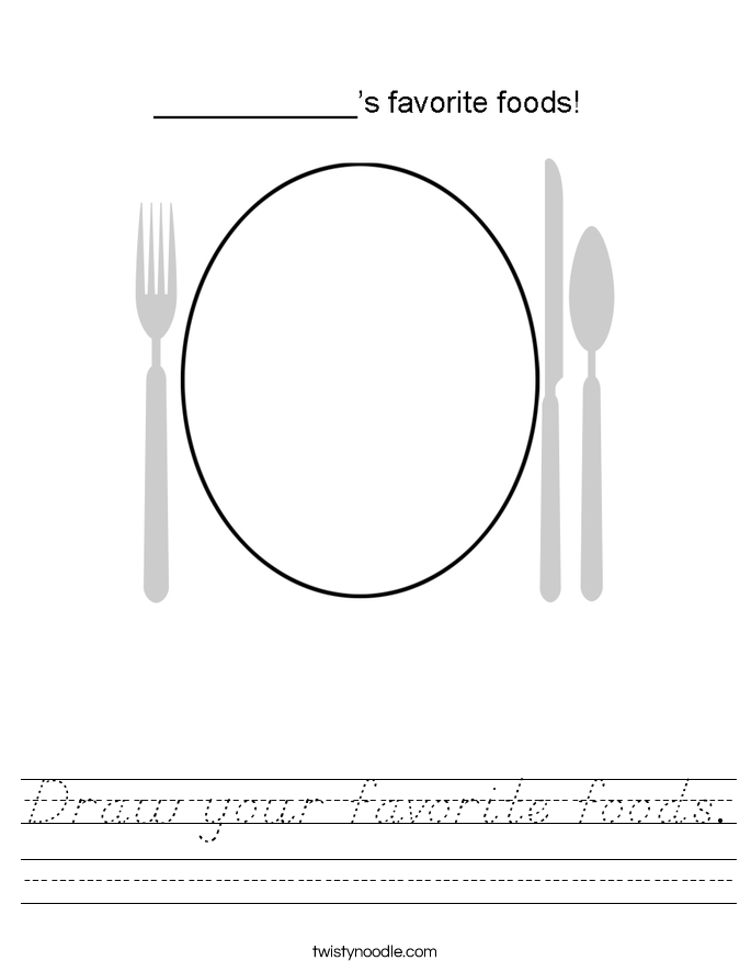 Draw your favorite foods. Worksheet