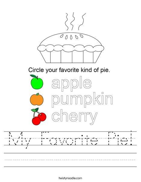 My Favorite Pie! Worksheet