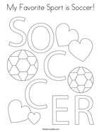 My Favorite Sport is Soccer Coloring Page