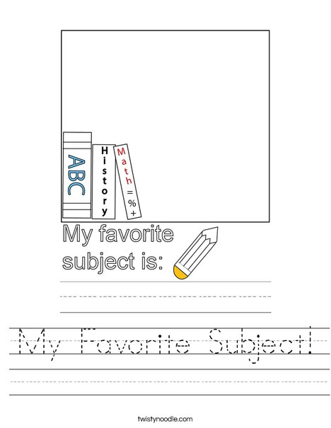 My Favorite Subject! Worksheet