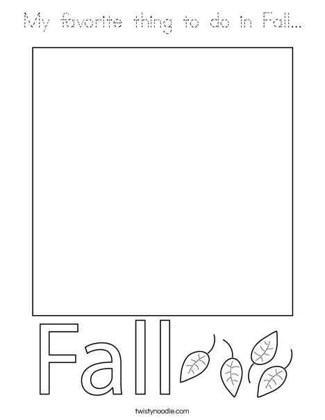 My Favorite thing to do in Fall...  Coloring Page