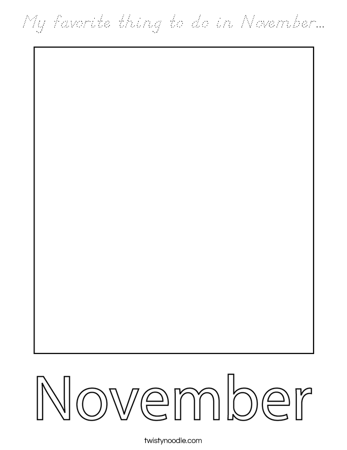 My favorite thing to do in November... Coloring Page