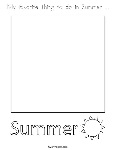 My favorite thing to do in Summer. Coloring Page