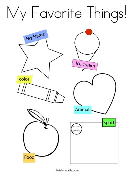 My Favorite Things! Coloring Page