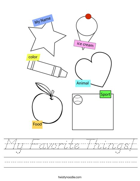 My Favorite Things! Worksheet