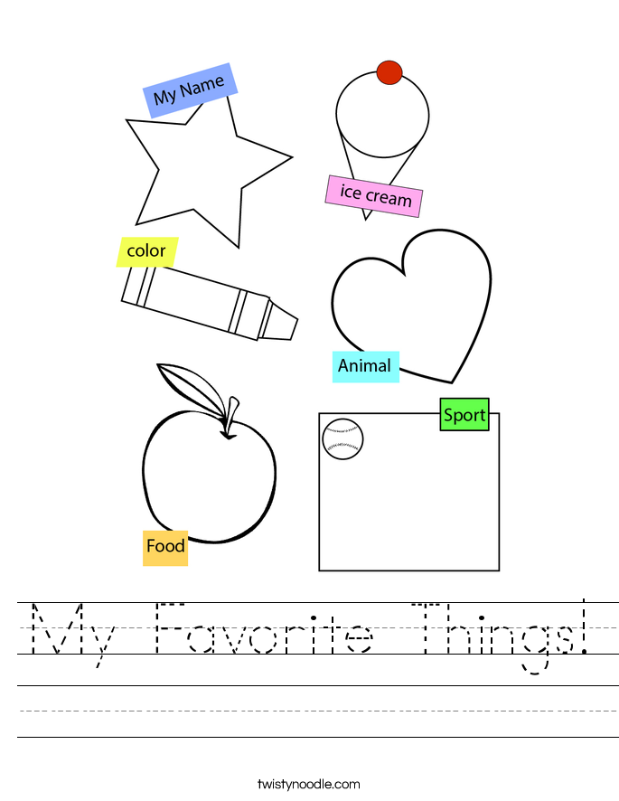 My Favorite Things! Worksheet