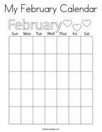 My February Calendar Coloring Page