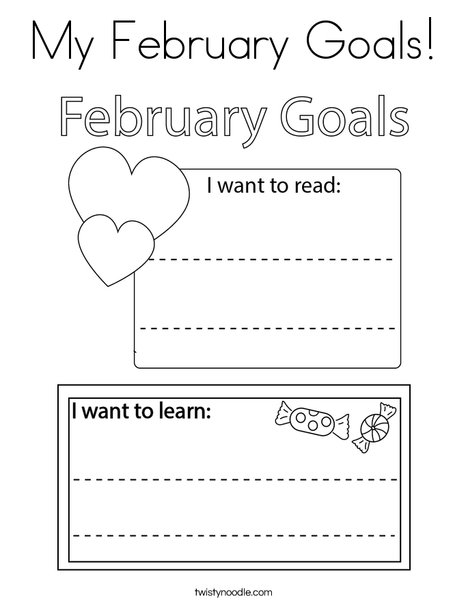 My February Goals! Coloring Page