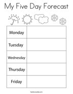My Five Day Forecast Coloring Page