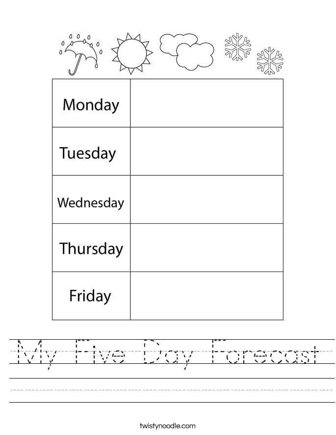 My Five Day Forecast Worksheet