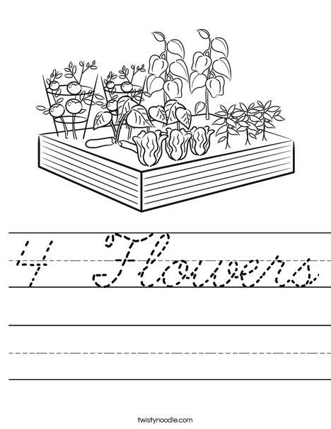 4 Flowers Worksheet - Cursive - Twisty Noodle