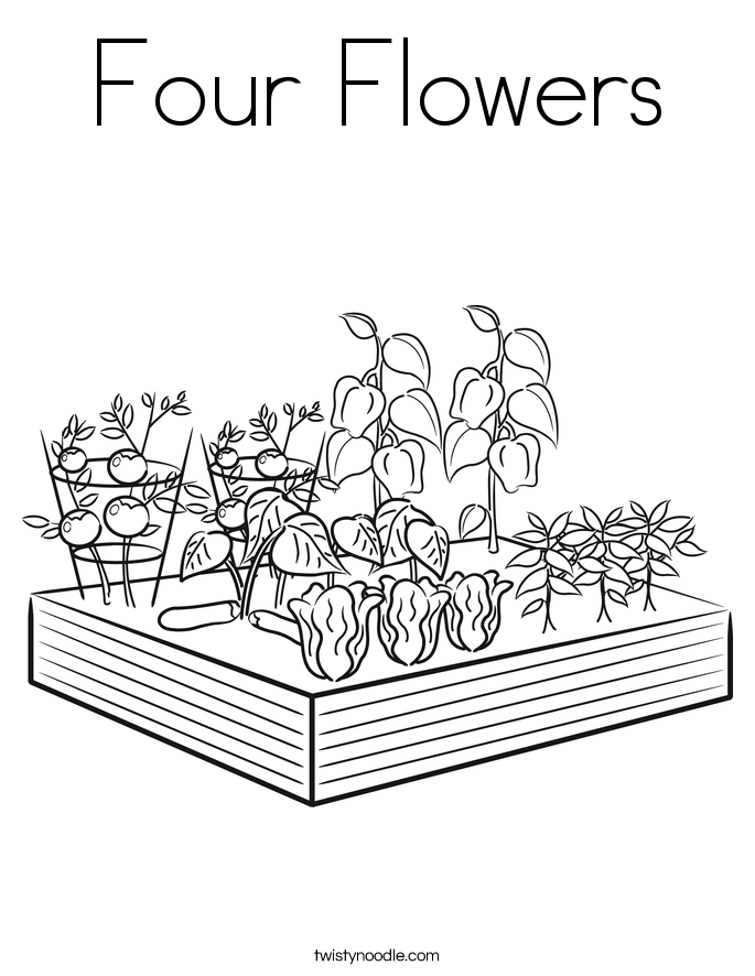 Four Flowers Coloring Page