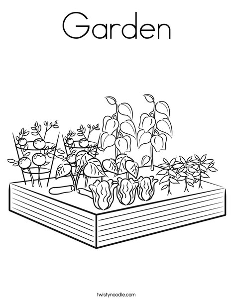 Garden coloring page twisty noodle for Garden coloring page